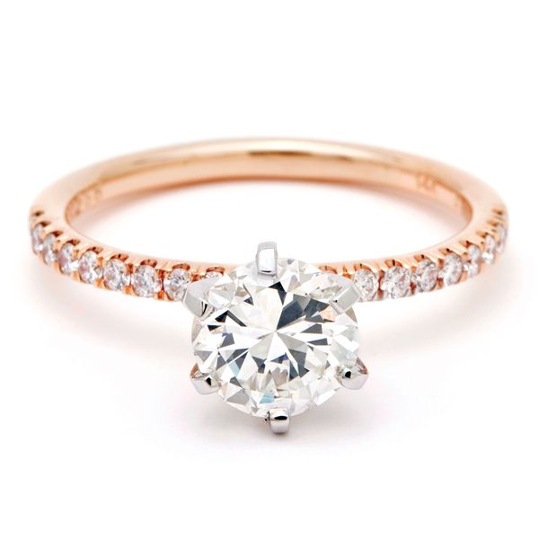 High-Profile Round Diamond Engagement Ring in Rose Gold Bremer Jewelry Peoria, IL