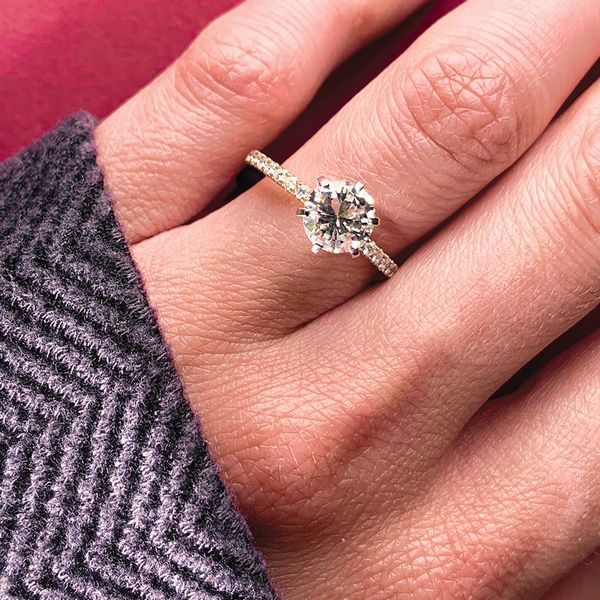 High-Profile Round Diamond Engagement Ring in Rose Gold Image 2 Bremer Jewelry Peoria, IL