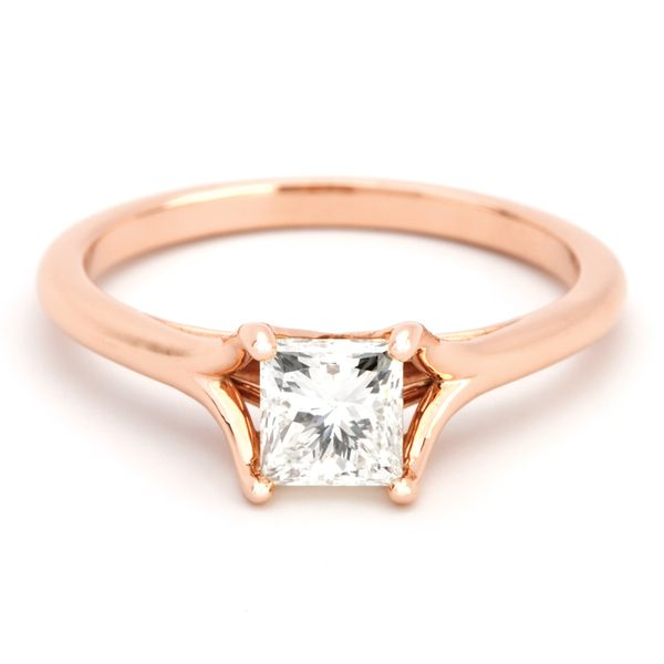 Split Shank Princess Cut Diamond Solitaire in Rose Gold Bremer Jewelry Peoria, IL