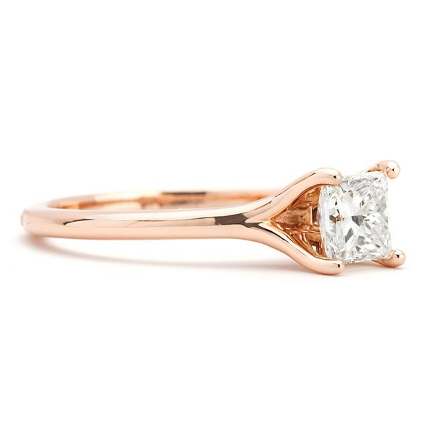 Split Shank Princess Cut Diamond Solitaire in Rose Gold Image 2 Bremer Jewelry Peoria, IL