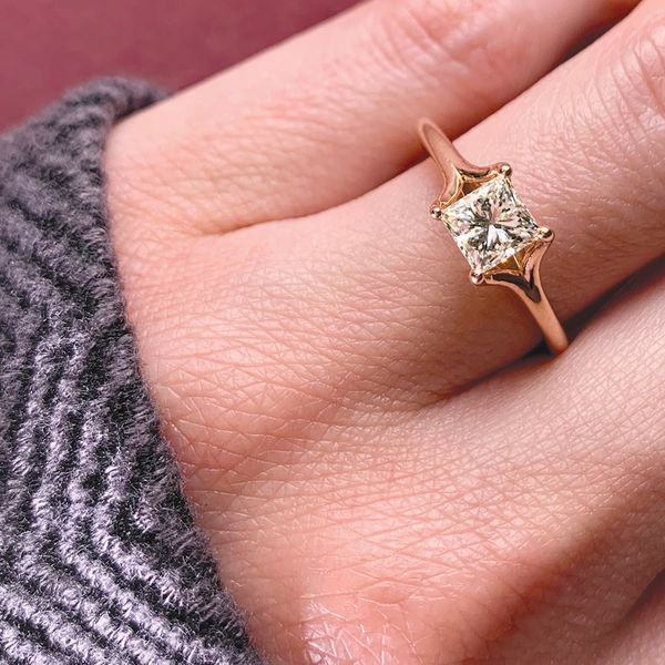 Split Shank Princess Cut Diamond Solitaire in Rose Gold Image 4 Bremer Jewelry Peoria, IL