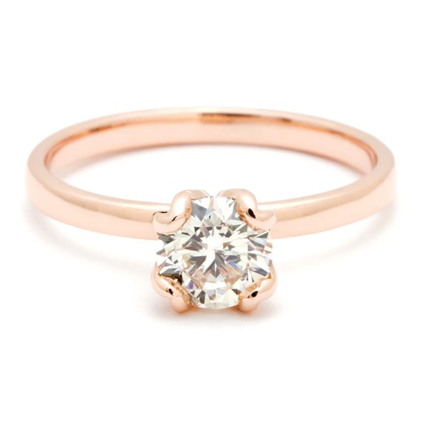 Tulip Head Round Diamond Solitaire Engagement Ring in Rose Gold Bremer Jewelry Peoria, IL