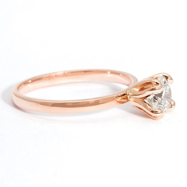 Tulip Head Round Diamond Solitaire Engagement Ring in Rose Gold Image 2 Bremer Jewelry Peoria, IL