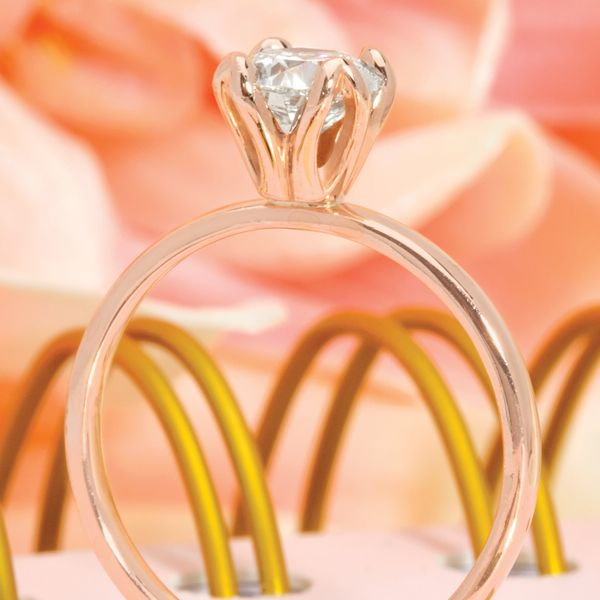 Tulip Head Round Diamond Solitaire Engagement Ring in Rose Gold Image 3 Bremer Jewelry Peoria, IL