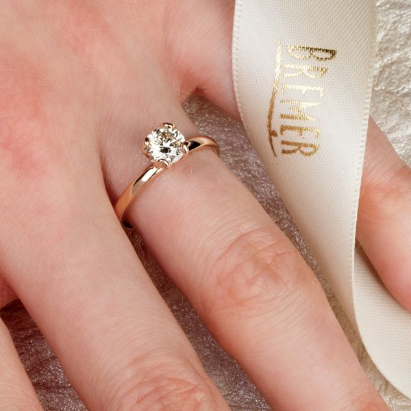 Tulip Head Round Diamond Solitaire Engagement Ring in Rose Gold Image 4 Bremer Jewelry Peoria, IL