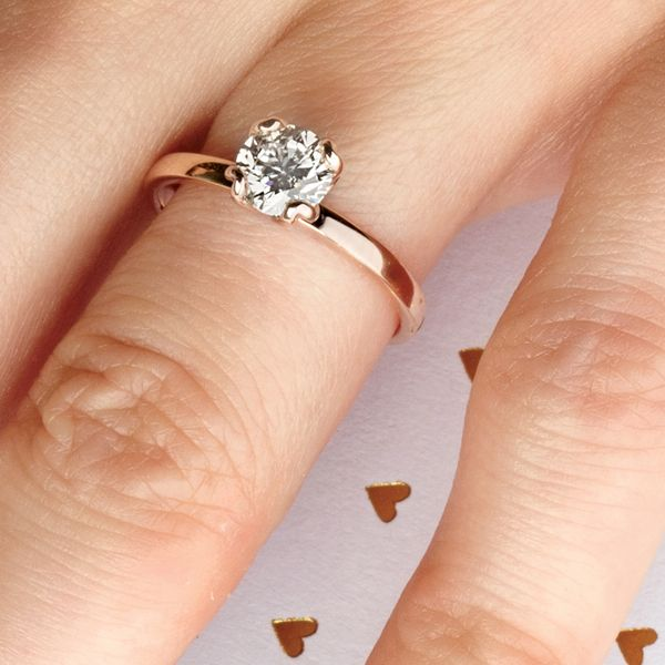 Tulip Head Round Diamond Solitaire Engagement Ring in Rose Gold Image 5 Bremer Jewelry Peoria, IL