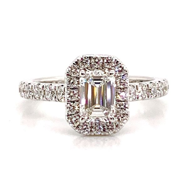 Emerald Cut Halo Diamond Engagement Ring in White Gold (1.60+ctw) Bremer Jewelry Peoria, IL