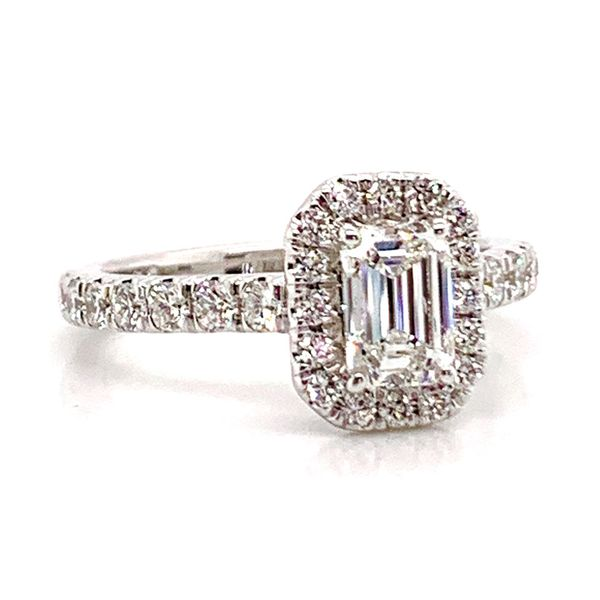 Emerald Cut Halo Diamond Engagement Ring in White Gold (1.60+ctw) Image 2 Bremer Jewelry Peoria, IL