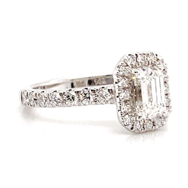 Emerald Cut Halo Diamond Engagement Ring in White Gold (1.60+ctw) Image 3 Bremer Jewelry Peoria, IL