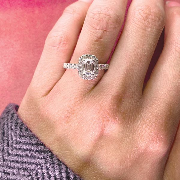 Emerald Cut Halo Diamond Engagement Ring in White Gold (1.60+ctw) Image 4 Bremer Jewelry Peoria, IL