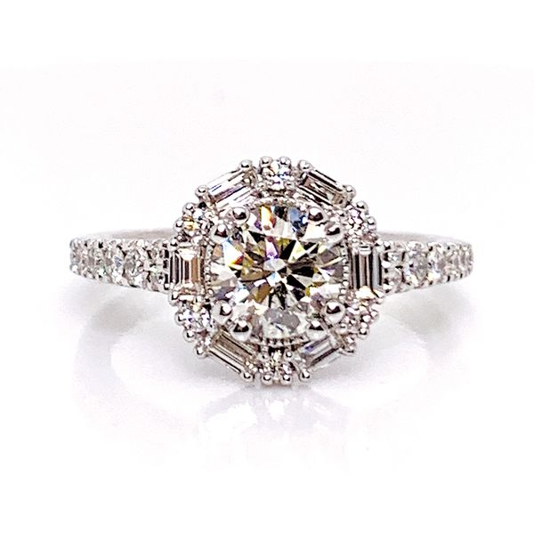 Art Deco Halo Diamond Engagement Ring in White Gold (1.50ctw) Bremer Jewelry Peoria, IL