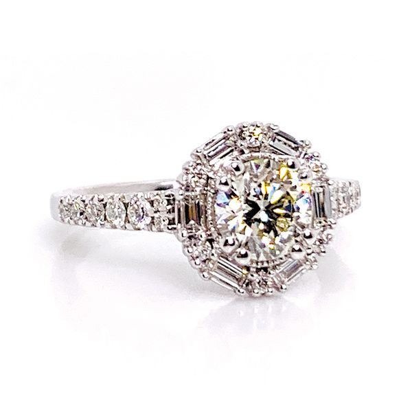 Art Deco Halo Diamond Engagement Ring in White Gold (1.50ctw) Image 2 Bremer Jewelry Peoria, IL