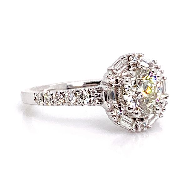 Art Deco Halo Diamond Engagement Ring in White Gold (1.50ctw) Image 3 Bremer Jewelry Peoria, IL