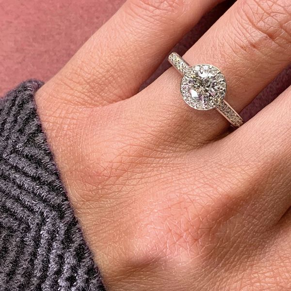 Pre-Owned Framed Halo Diamond Engagement Ring in White Gold (1.00ctw) Image 4 Bremer Jewelry Peoria, IL