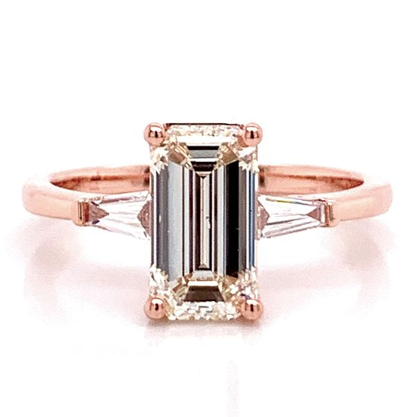 Elongated Emerald Diamond Engagement Ring in Rose Gold (2.35 ctw) Bremer Jewelry Peoria, IL
