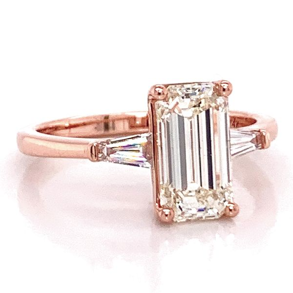 Elongated Emerald Diamond Engagement Ring in Rose Gold (2.35 ctw) Image 2 Bremer Jewelry Peoria, IL