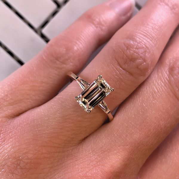 Elongated Emerald Diamond Engagement Ring in Rose Gold (2.35 ctw) Image 4 Bremer Jewelry Peoria, IL