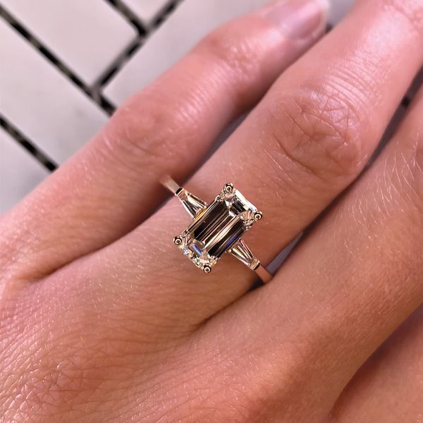 Elongated Emerald Diamond Engagement Ring in Rose Gold (2.35 ctw) Image 5 Bremer Jewelry Peoria, IL