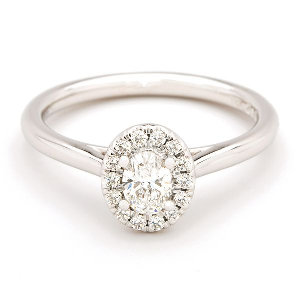 Forevermark Oval Diamond Halo Engagement Ring in White Gold (0.43 ctw) Bremer Jewelry Peoria, IL