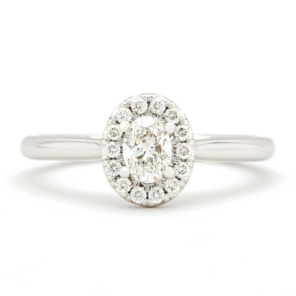 Forevermark Oval Diamond Halo Engagement Ring in White Gold (0.43 ctw) Image 2 Bremer Jewelry Peoria, IL