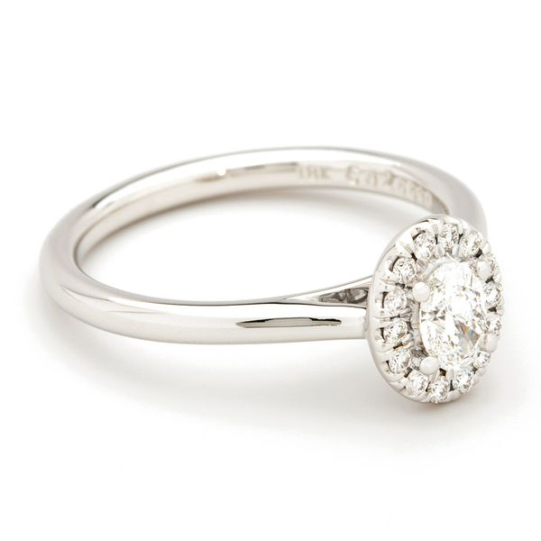 Forevermark Oval Diamond Halo Engagement Ring in White Gold (0.43 ctw) Image 3 Bremer Jewelry Peoria, IL