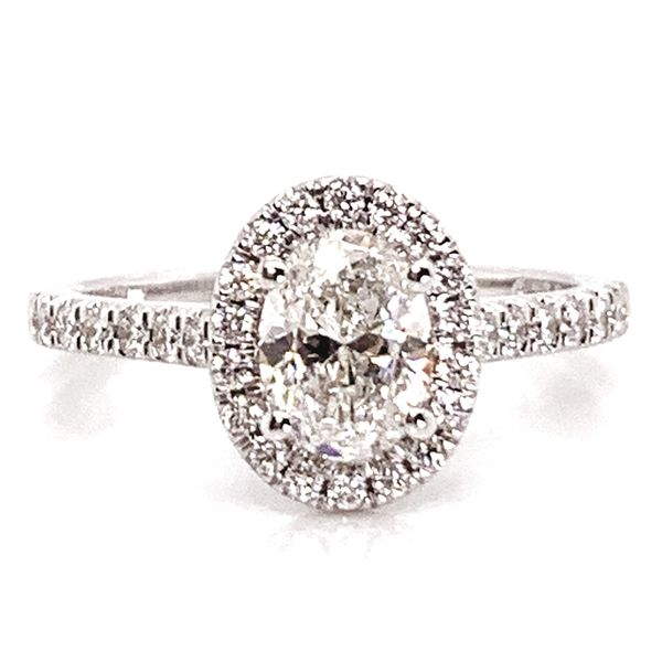 Oval Diamond Halo Engagement Ring in White Gold (1.00+ ctw) Bremer Jewelry Peoria, IL