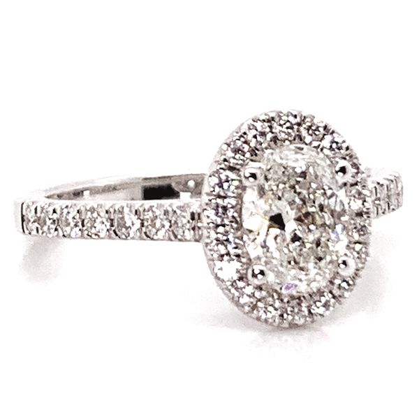 Oval Diamond Halo Engagement Ring in White Gold (1.00+ ctw) Image 2 Bremer Jewelry Peoria, IL