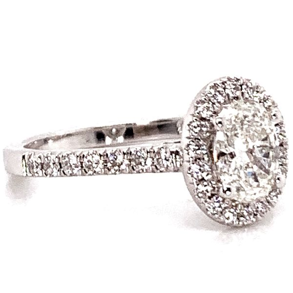 Oval Diamond Halo Engagement Ring in White Gold (1.00+ ctw) Image 3 Bremer Jewelry Peoria, IL