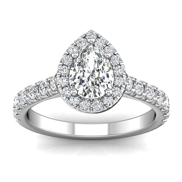 Pear-Shaped Diamond Halo Engagement Ring in White Gold (1.50+ ctw) Bremer Jewelry Peoria, IL