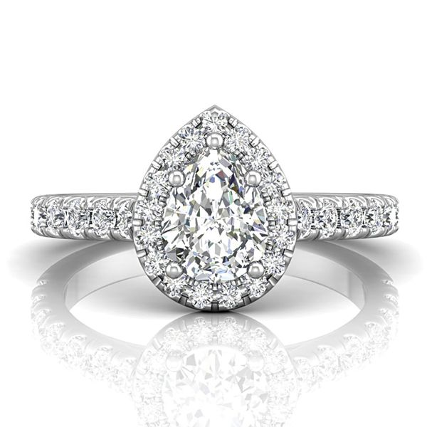Pear-Shaped Diamond Halo Engagement Ring in White Gold (1.50+ ctw) Image 2 Bremer Jewelry Peoria, IL