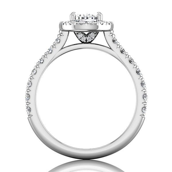 Pear-Shaped Diamond Halo Engagement Ring in White Gold (1.50+ ctw) Image 3 Bremer Jewelry Peoria, IL