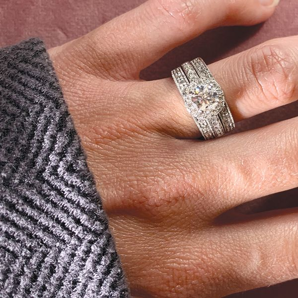 Pre-Owned Diamond Wedding Set in White Gold (1.75 ctw) Image 4 Bremer Jewelry Peoria, IL