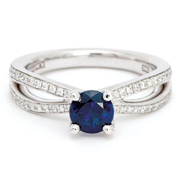 Sapphire and Diamond Open Weave Ring in White Gold Bremer Jewelry Peoria, IL