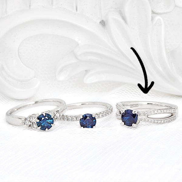 Sapphire and Diamond Open Weave Ring in White Gold Image 2 Bremer Jewelry Peoria, IL