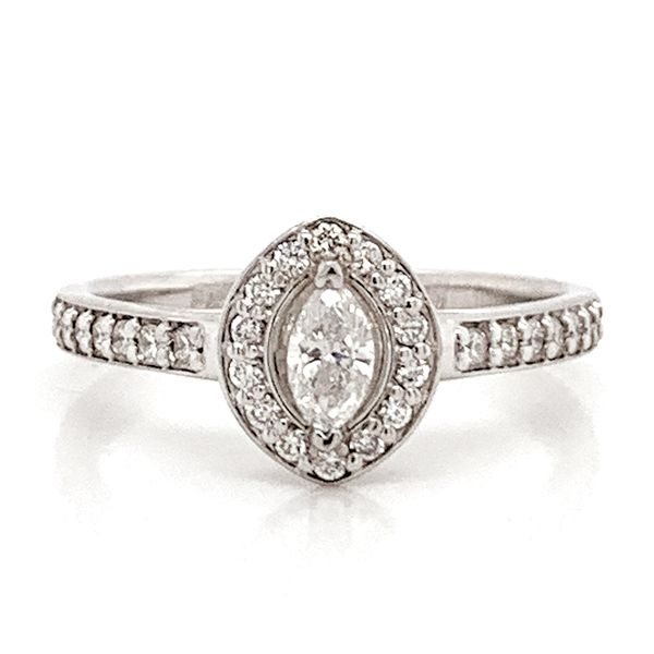 Marquise Diamond Halo Engagement Ring in White Gold (0.54ctw) Bremer Jewelry Peoria, IL