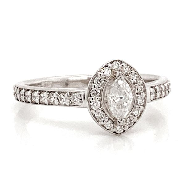 Marquise Diamond Halo Engagement Ring in White Gold (0.54ctw) Image 2 Bremer Jewelry Peoria, IL