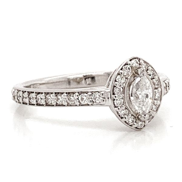 Marquise Diamond Halo Engagement Ring in White Gold (0.54ctw) Image 3 Bremer Jewelry Peoria, IL
