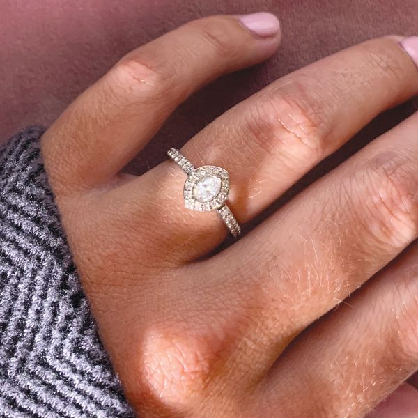 Marquise Diamond Halo Engagement Ring in White Gold (0.54ctw) Image 4 Bremer Jewelry Peoria, IL