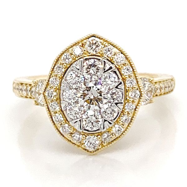 Vintage Halo Diamond Cluster Ring in Yellow Gold (1.25 ctw) Bremer Jewelry Peoria, IL