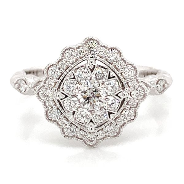 Floral Halo Diamond Cluster Ring in White Gold (0.62 ctw) Bremer Jewelry Peoria, IL