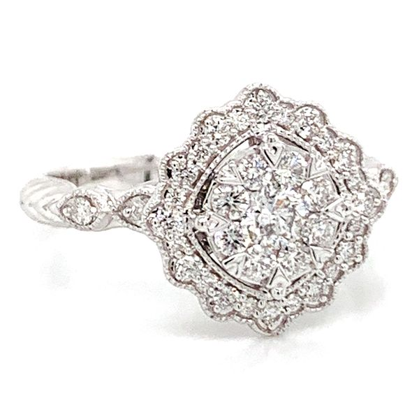 Floral Halo Diamond Cluster Ring in White Gold (0.62 ctw) Image 2 Bremer Jewelry Peoria, IL