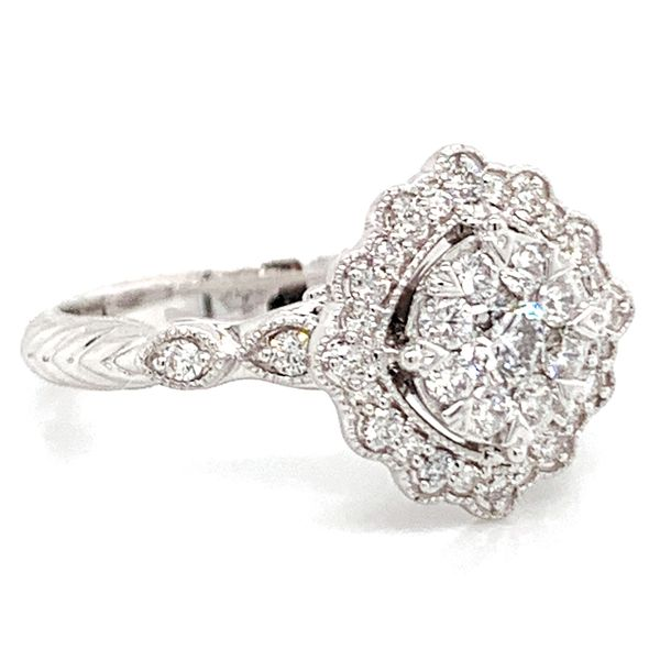 Floral Halo Diamond Cluster Ring in White Gold (0.62 ctw) Image 3 Bremer Jewelry Peoria, IL