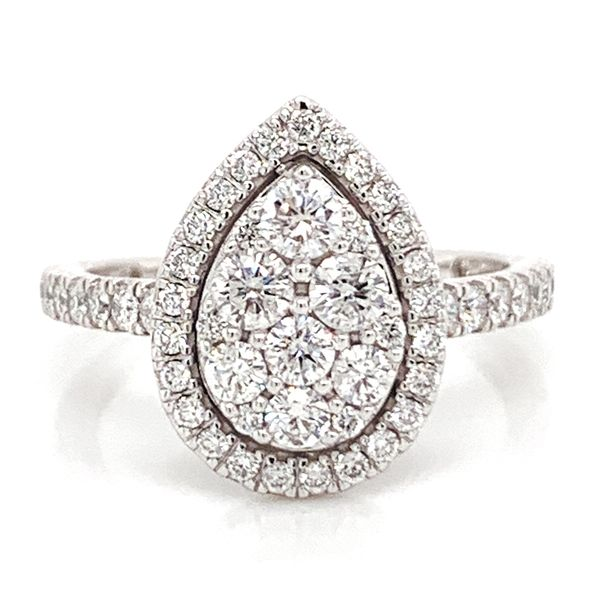 Pear Halo Diamond Cluster Ring (1.00 ctw) Bremer Jewelry Peoria, IL
