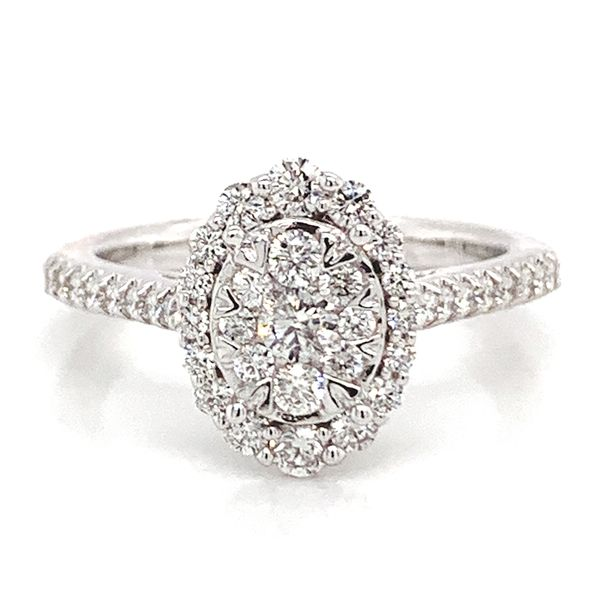 Oval Halo Diamond Cluster Ring in White Gold (0.75 ctw) Bremer Jewelry Peoria, IL