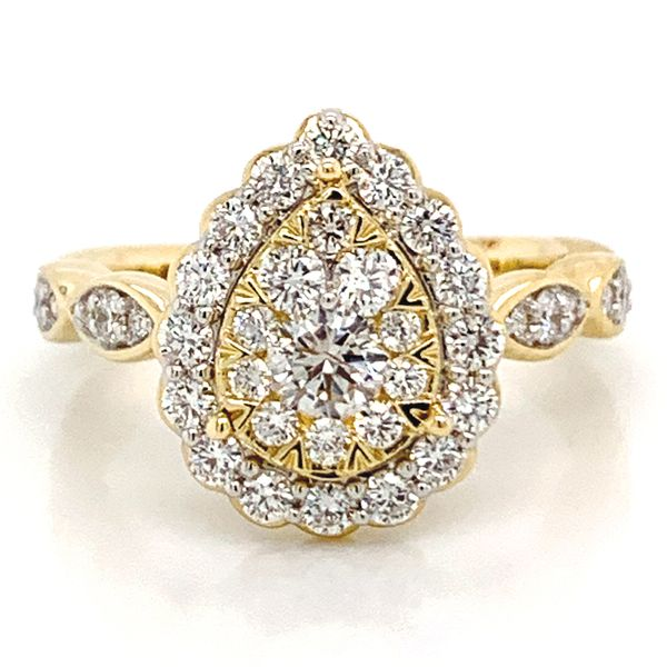 Pear Halo Diamond Cluster Ring in Yellow Gold (1.00 ctw) Bremer Jewelry Peoria, IL