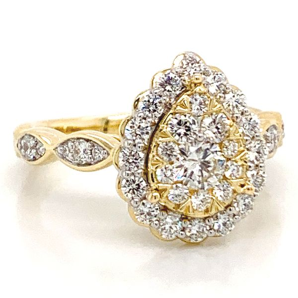 Pear Halo Diamond Cluster Ring in Yellow Gold (1.00 ctw) Image 2 Bremer Jewelry Peoria, IL