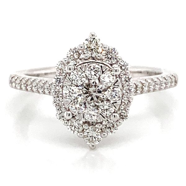 Floral Halo Diamond Cluster Ring in White Gold (0.75 ctw) Bremer Jewelry Peoria, IL
