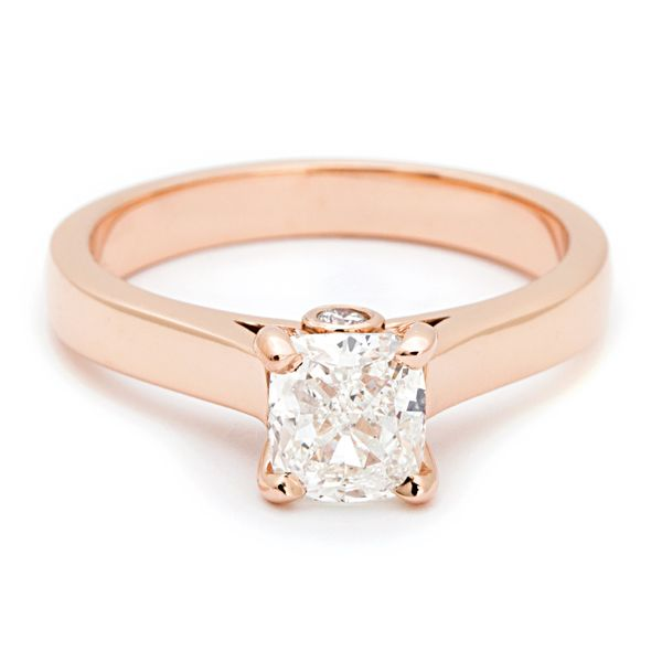Cushion Diamond Solitaire Engagement Ring in Rose Gold (1.20 ctw) Bremer Jewelry Peoria, IL