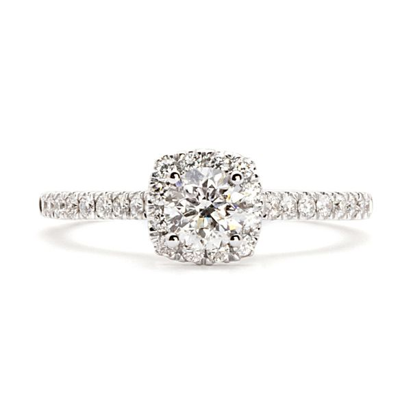 Cushion Halo Diamond Engagement Ring in White Gold (0.83 ctw) Bremer Jewelry Peoria, IL