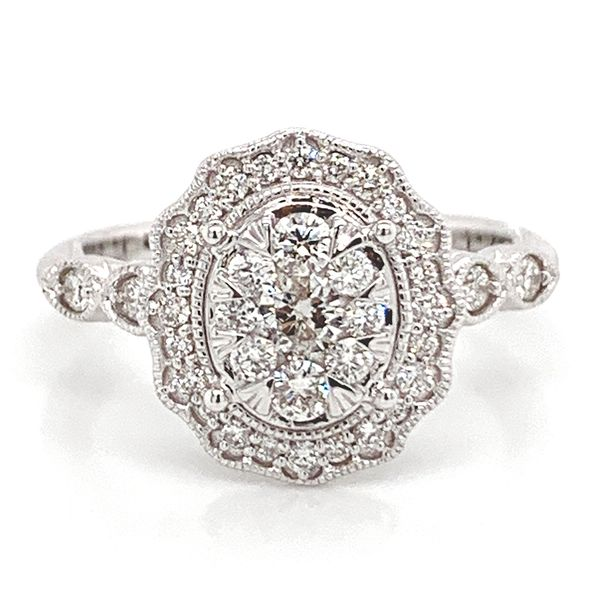 Oval Halo Diamond Cluster Ring in White Gold (0.62 ctw) Bremer Jewelry Peoria, IL